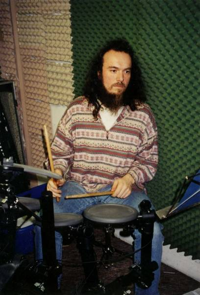 Roland with his electronic drum kit